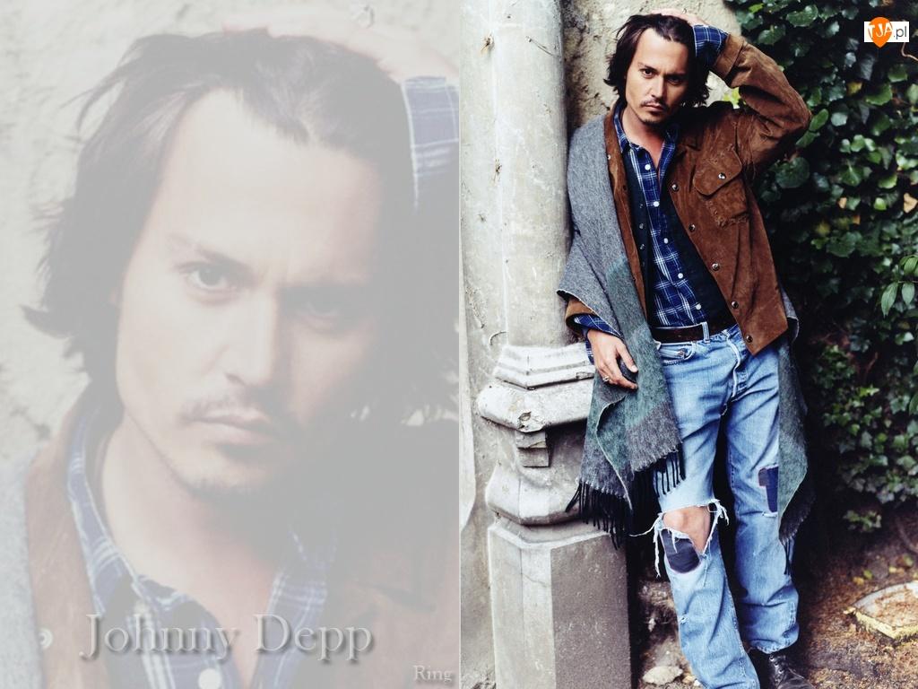 szal, Johnny Depp, długie włosy