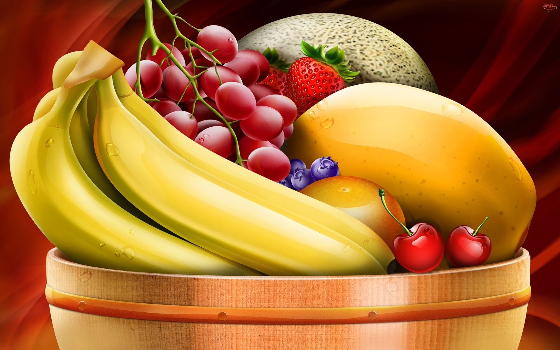 Truskawki, Owoce, Winogrona, Banany, 2D