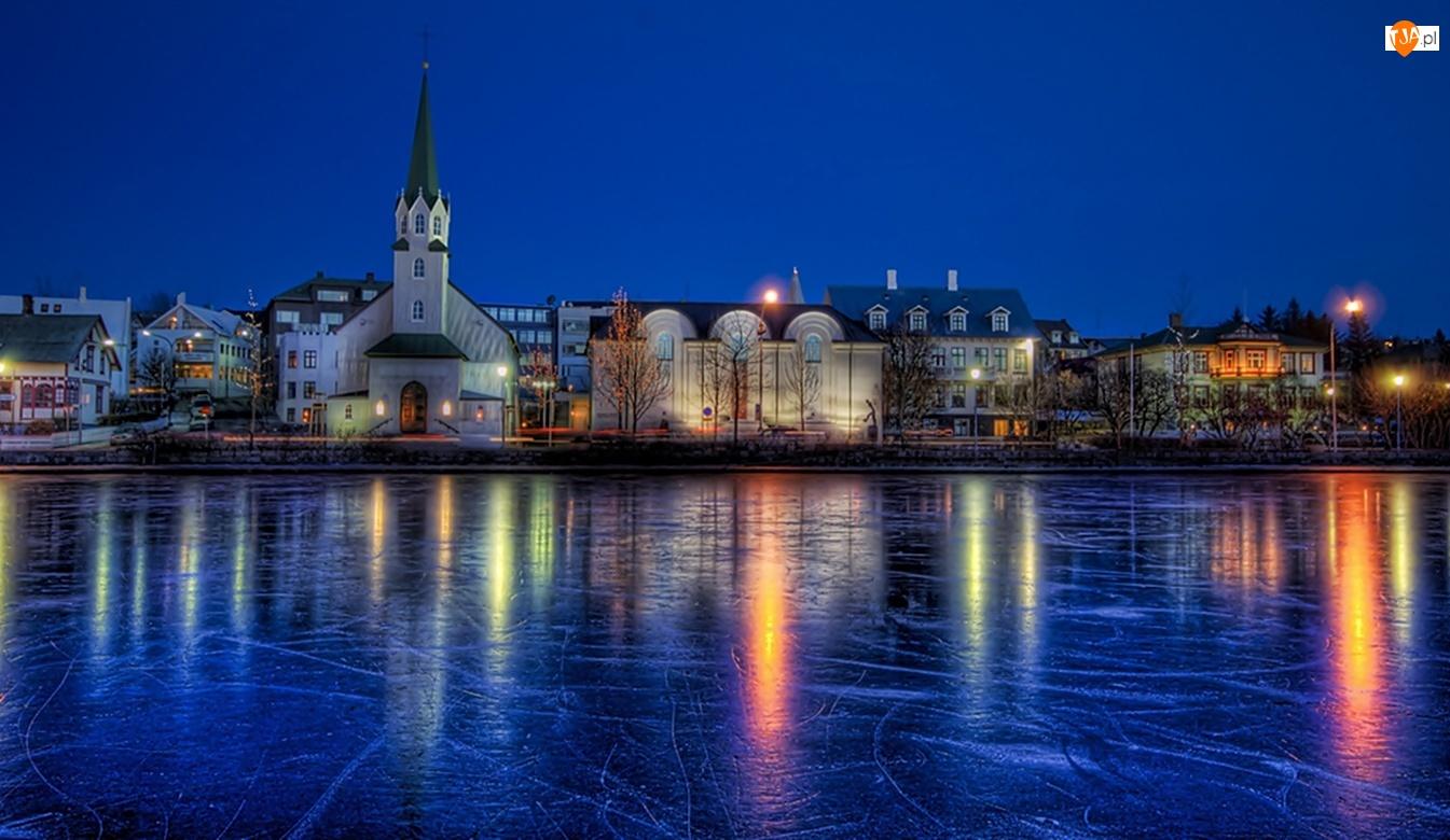 Islandia, Zamarznięte, Miasto, Jezioro, Reykjawik