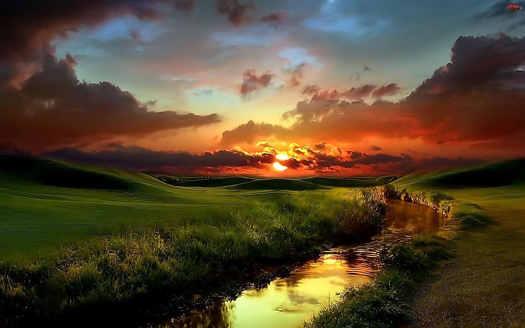 Krajobraz, Słońca, Strumyk, Zachód