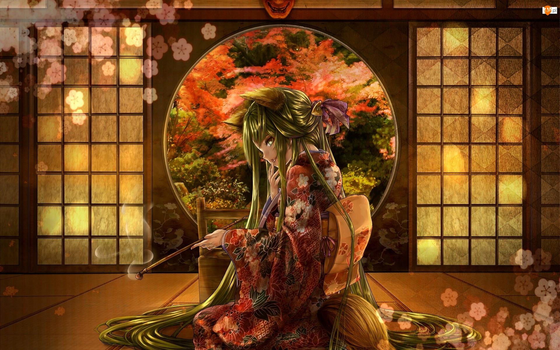 Dziewczyna, Fajka, Lisek, Kimono