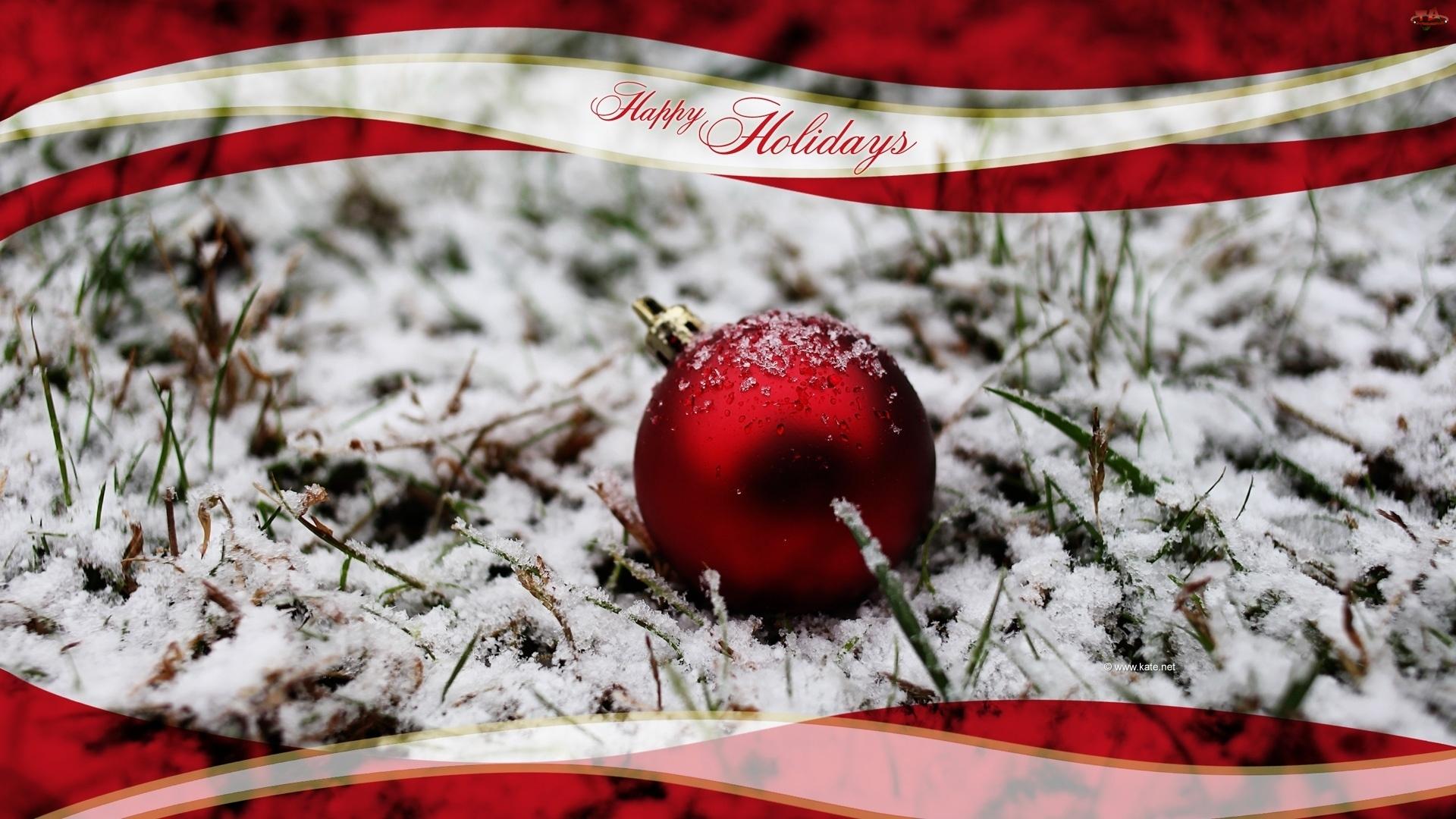 Narodzenie, Czerwona, Śnieg, Bombka, Boże