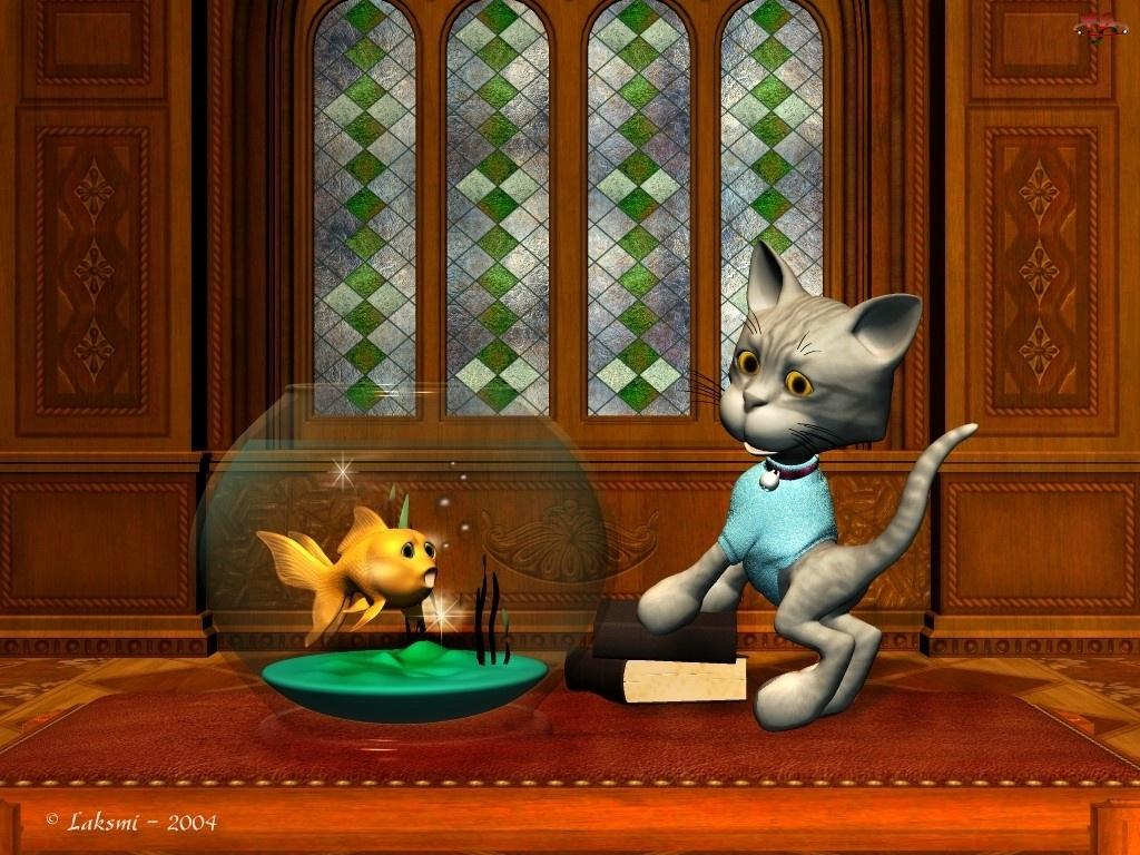 Kot, 3D, Akwarium, Rybka
