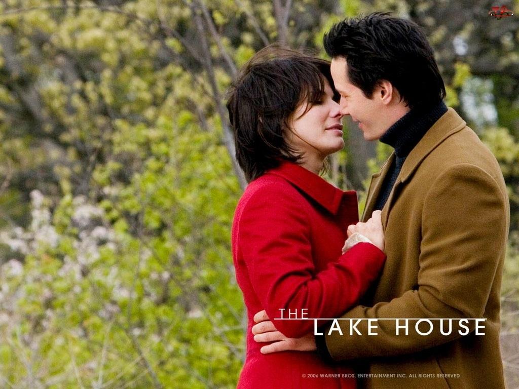 pocałunek, The Lake House, mężczyzna, Sandra Bullock, park