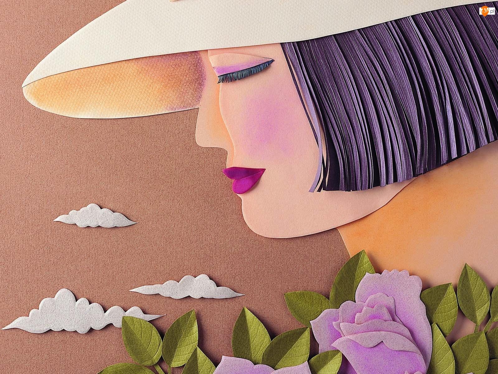 Kwiaty, Kobieta, Kapelusz
