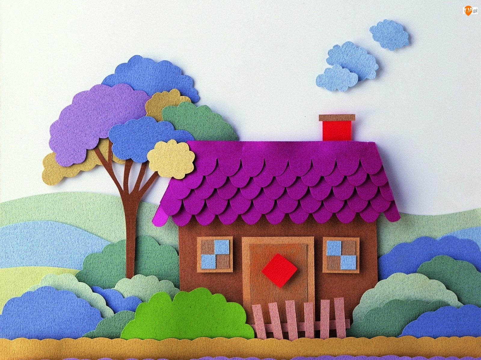 Domek, Papier Art, Drzewo, Krzewy