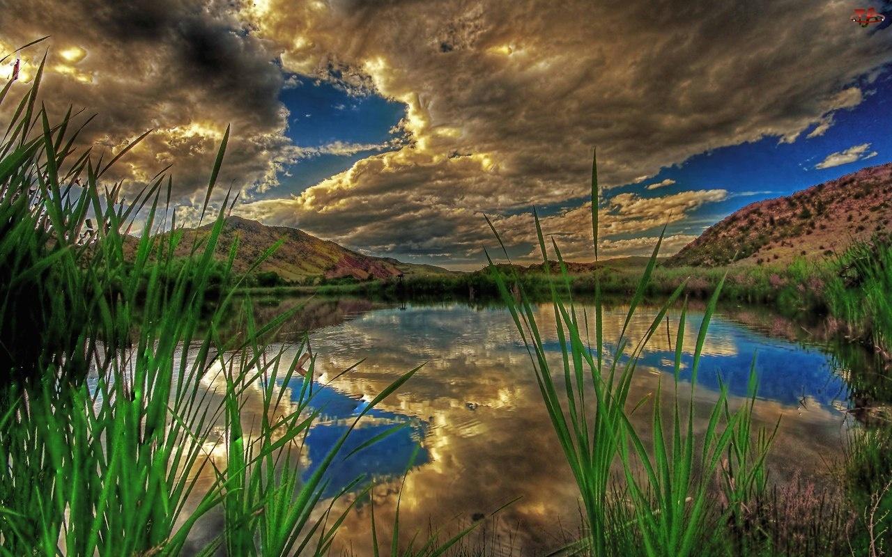 Trawa, Chmury, Jezioro