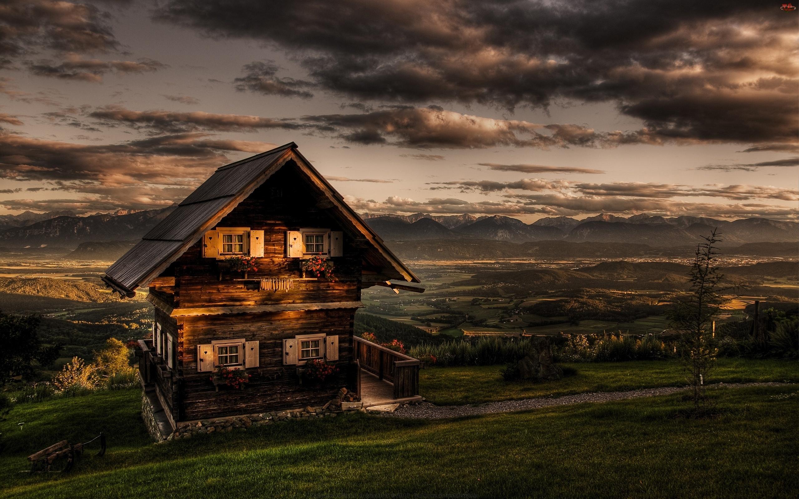 Góry, Drewniany, Na, Domek, Wzgórzu