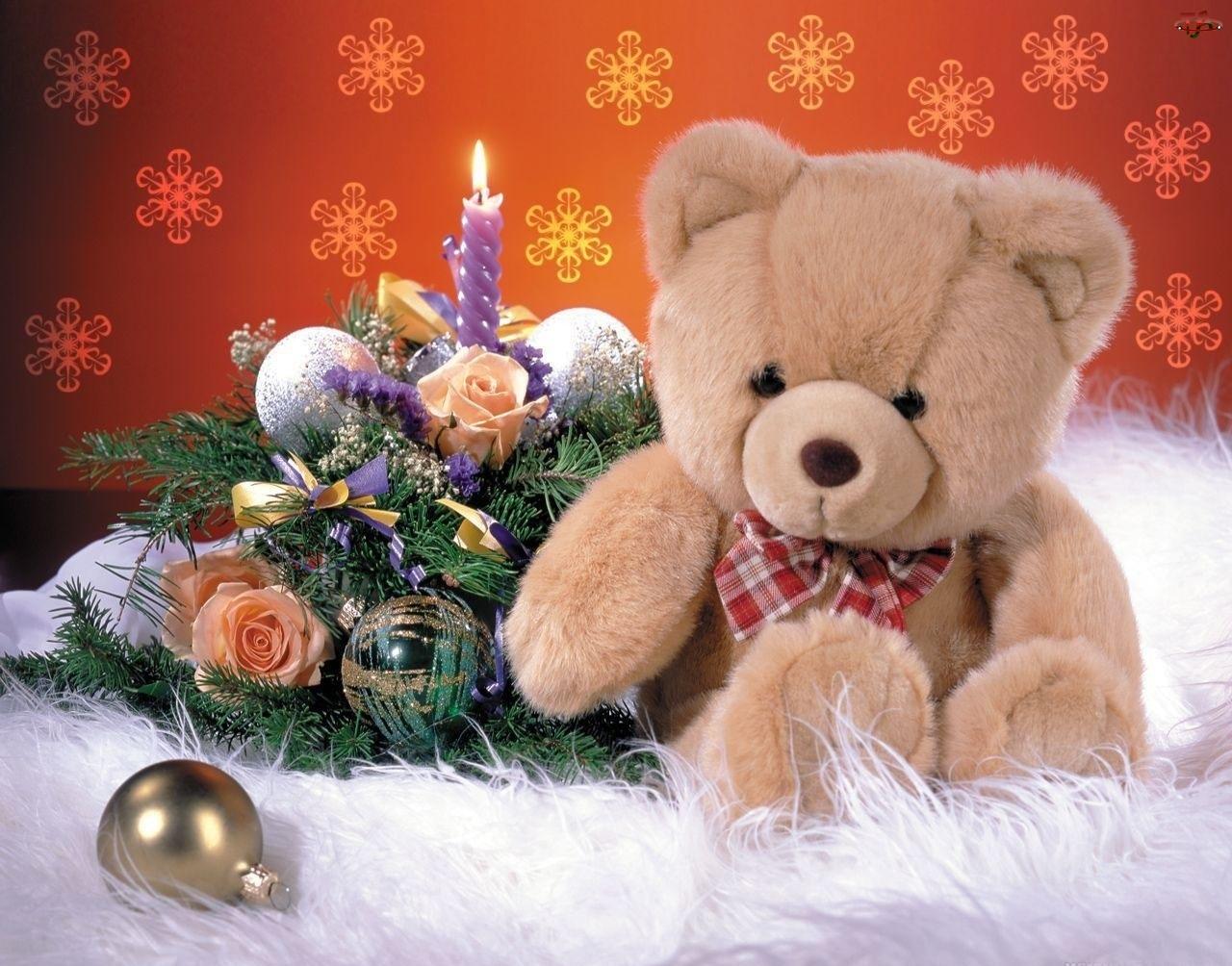 Narodzenie, Pluszowy, Święta, Miś, Boże, Stroik