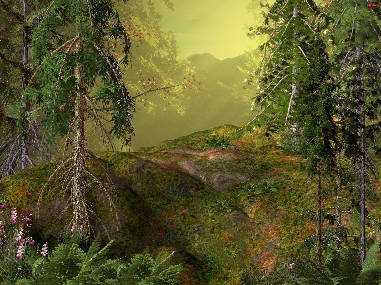 Drzewa, 3D, Las, Góry