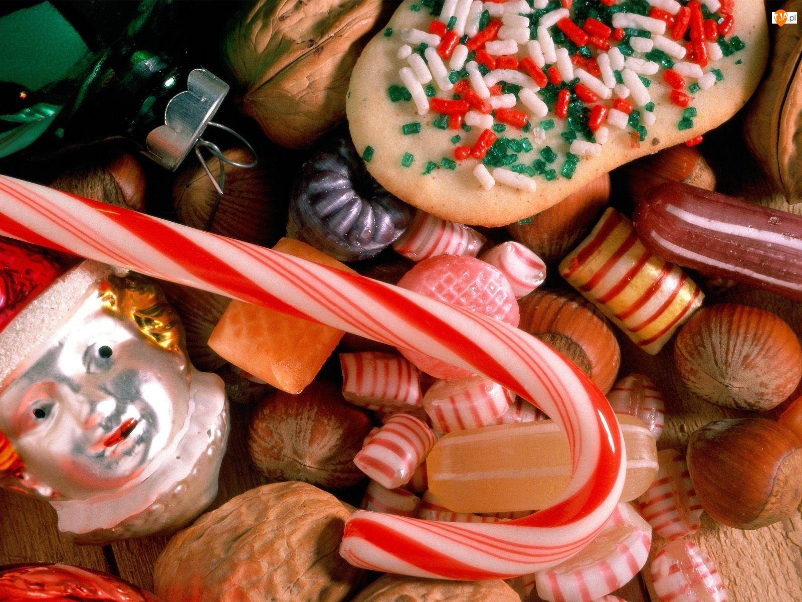 Święta, Różne, Orzechy, Słodycze, Bombki