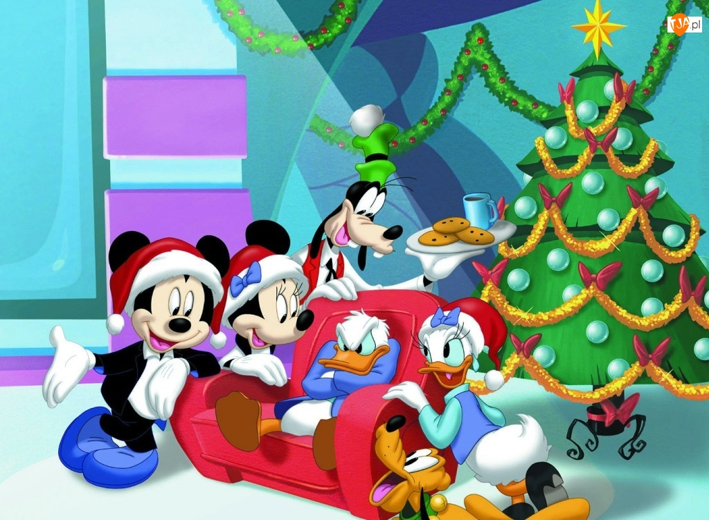Święta, Choinka, Myszka, Miki