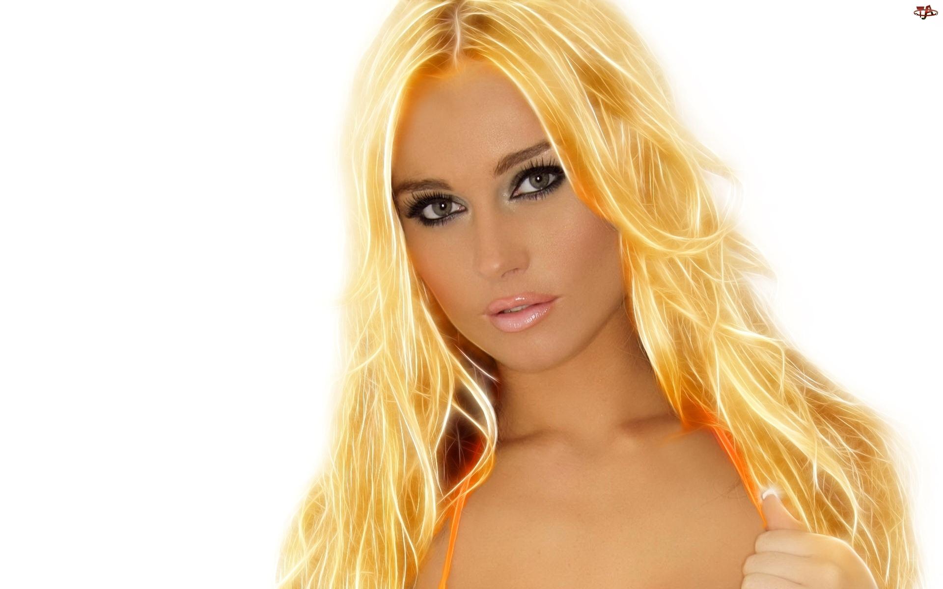 Kobieta, 3D, Złote, Włosy