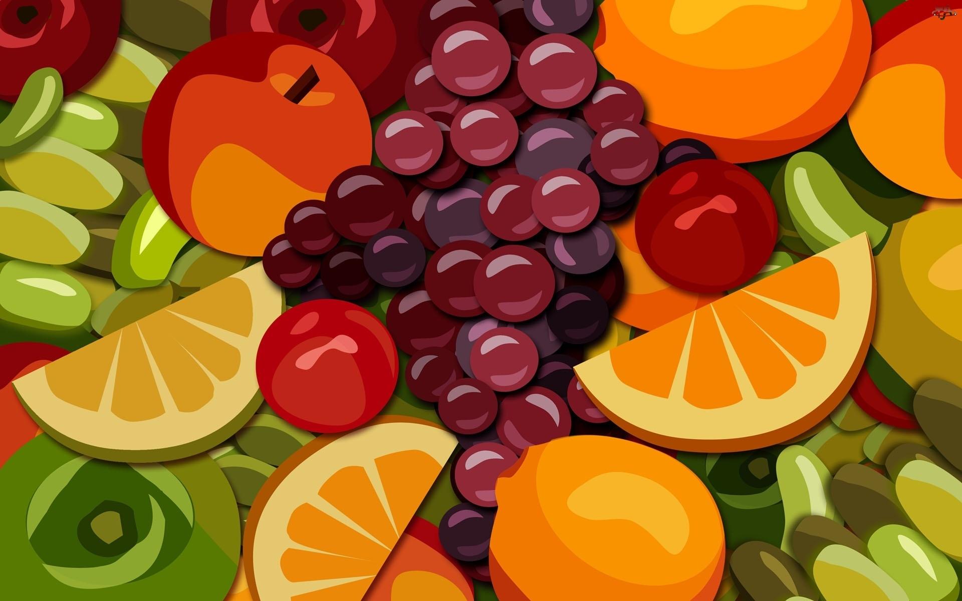 Winogrona, Owoce, Pomarańcze
