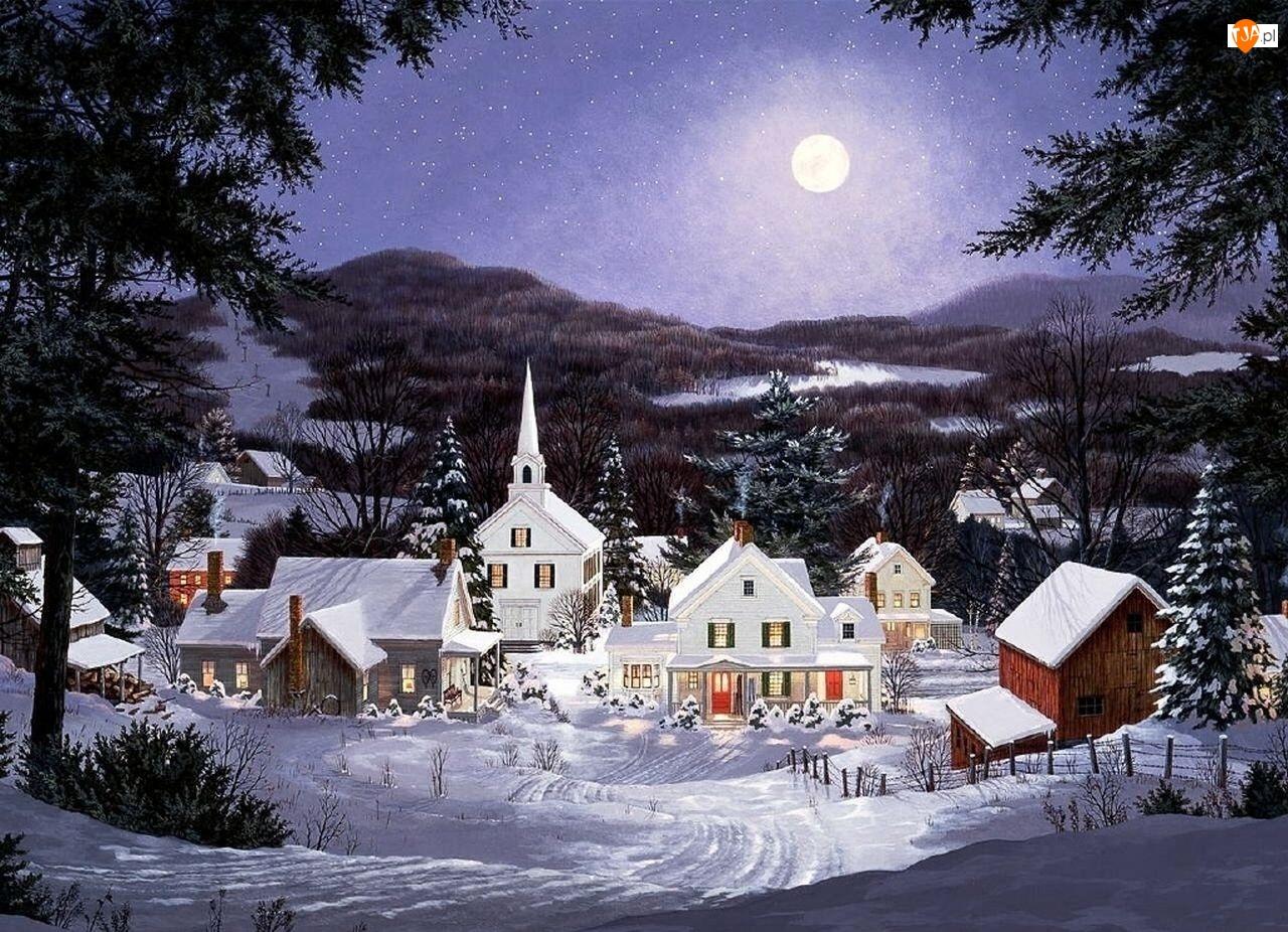 Śnieg, Noc, Boże, Księżyc, Narodzenie, Domki