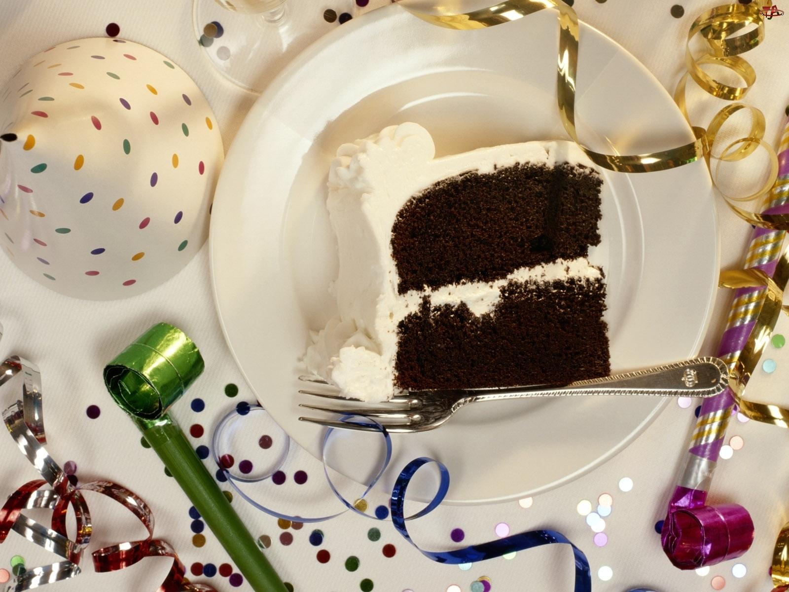 Talerz, Urodziny, Ciasto, Czapeczki
