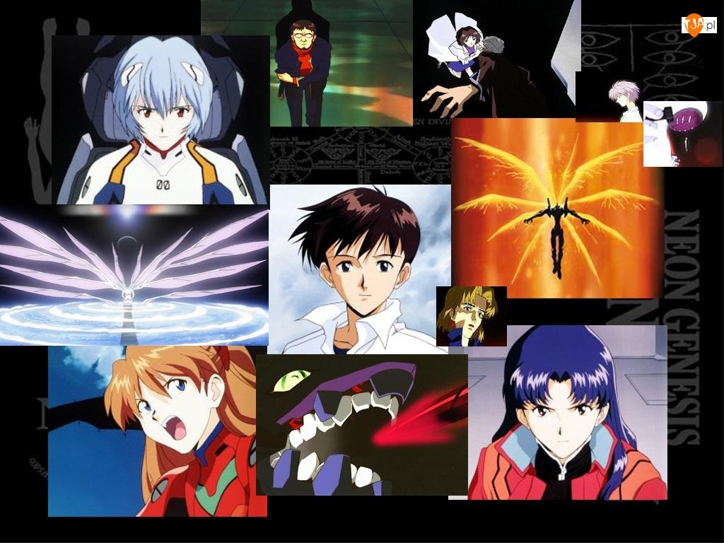 plakat, Neon Genesis Evangelion, ludzie