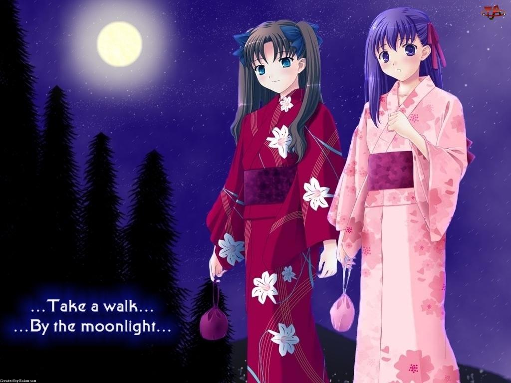 Fate Stay Night, księżyc, dziewczyny, kimono