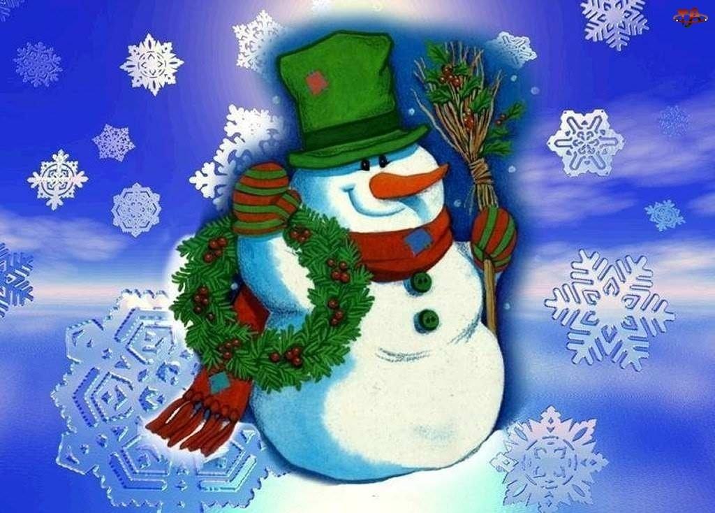 Święta, Stroik, Bałwanek, Zielony