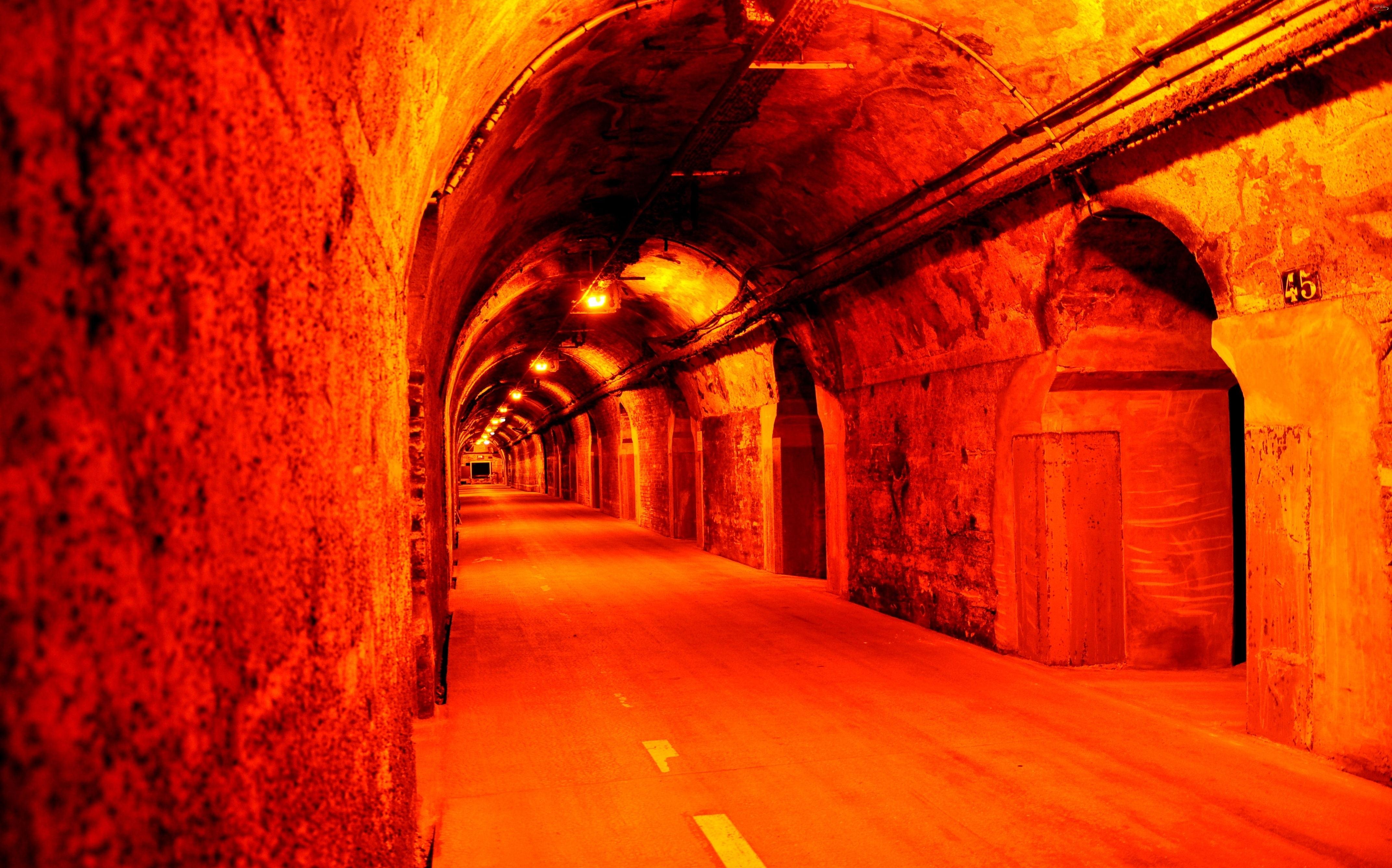Droga, Oświetlony, Tunel