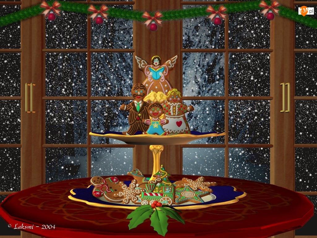 Święta, Ciasteczka, Okno