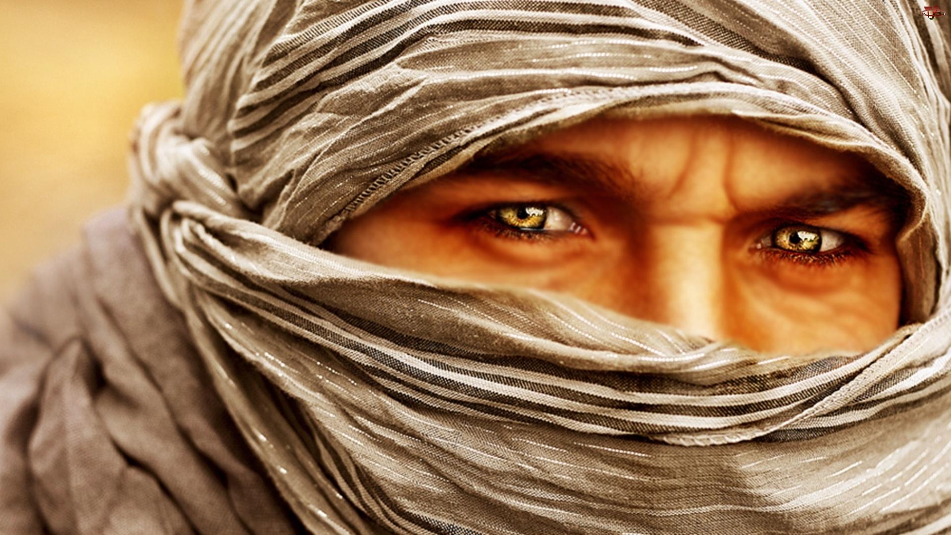 Mężczyzna, Oczy, Szal, Złote