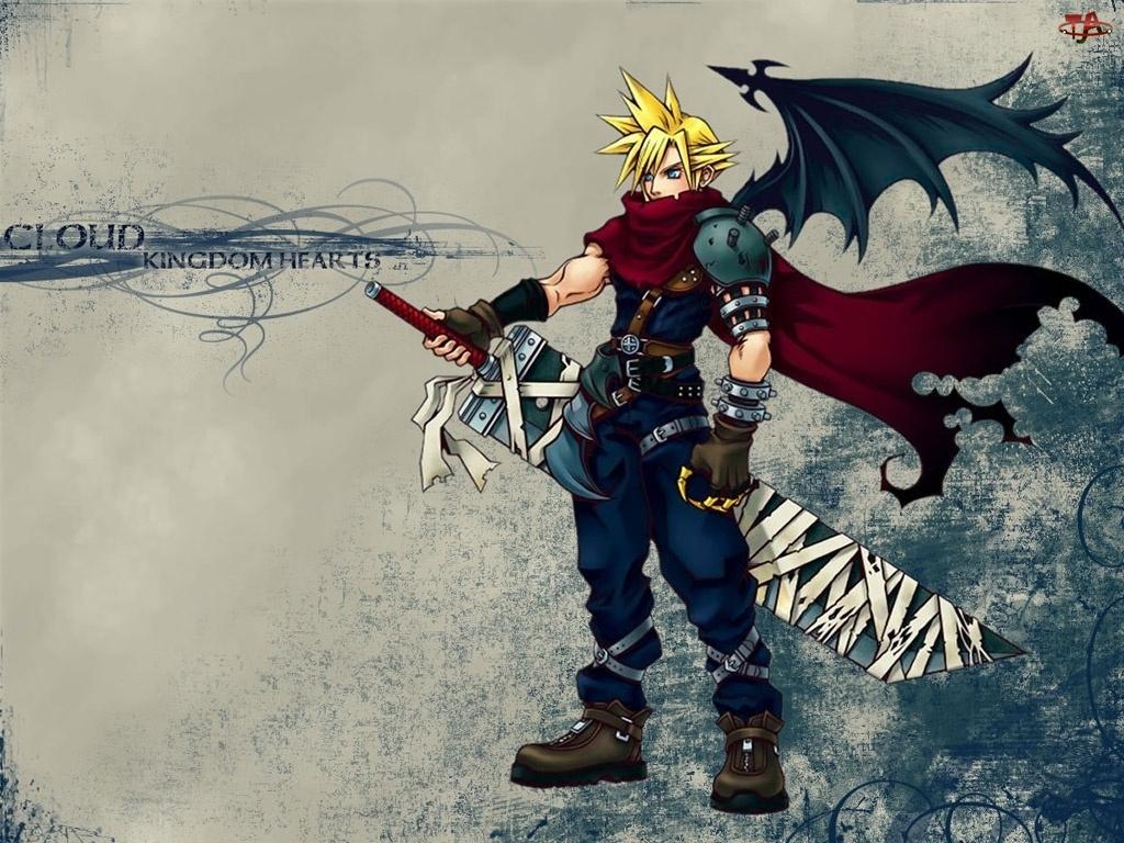 postać, Kingdom Hearts, skrzydła, miecz, mężczyzna, broń