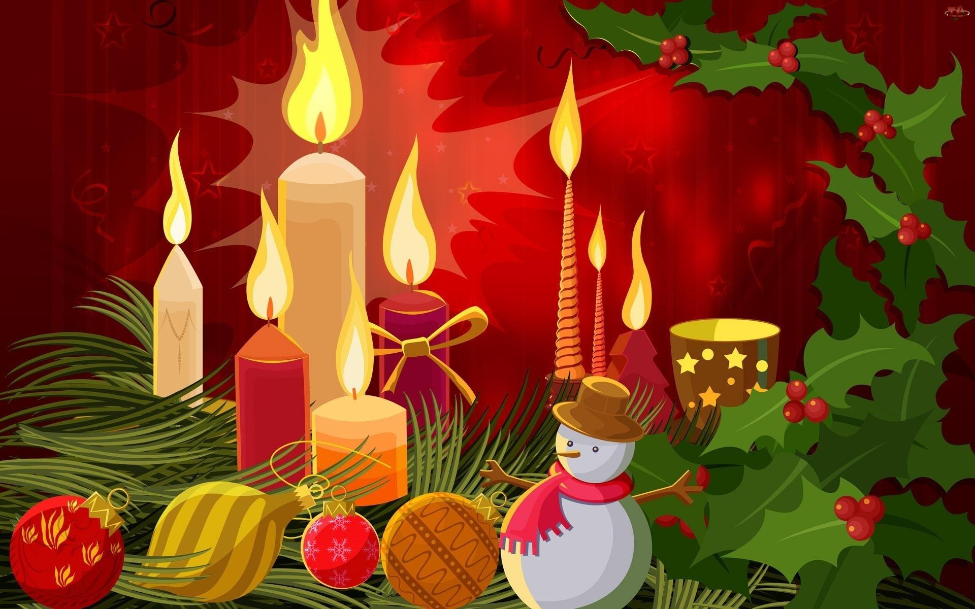 Grafika 2D, Bombki, Narodzenie, Boże, Kompozycja, Świeczki, Bałwanek