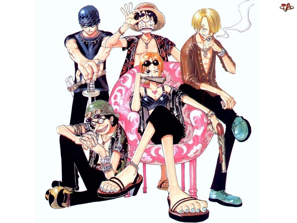 One Piece, wachlarz, ludzie, fotel