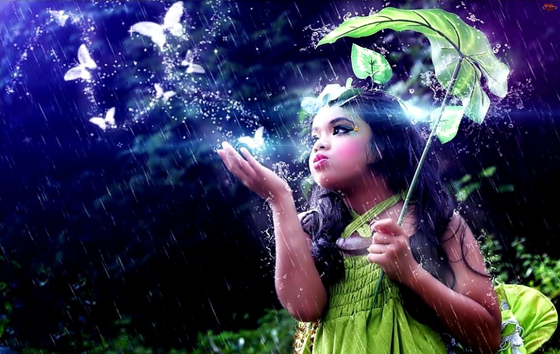 Motyle, Dziewczynka, Deszcz