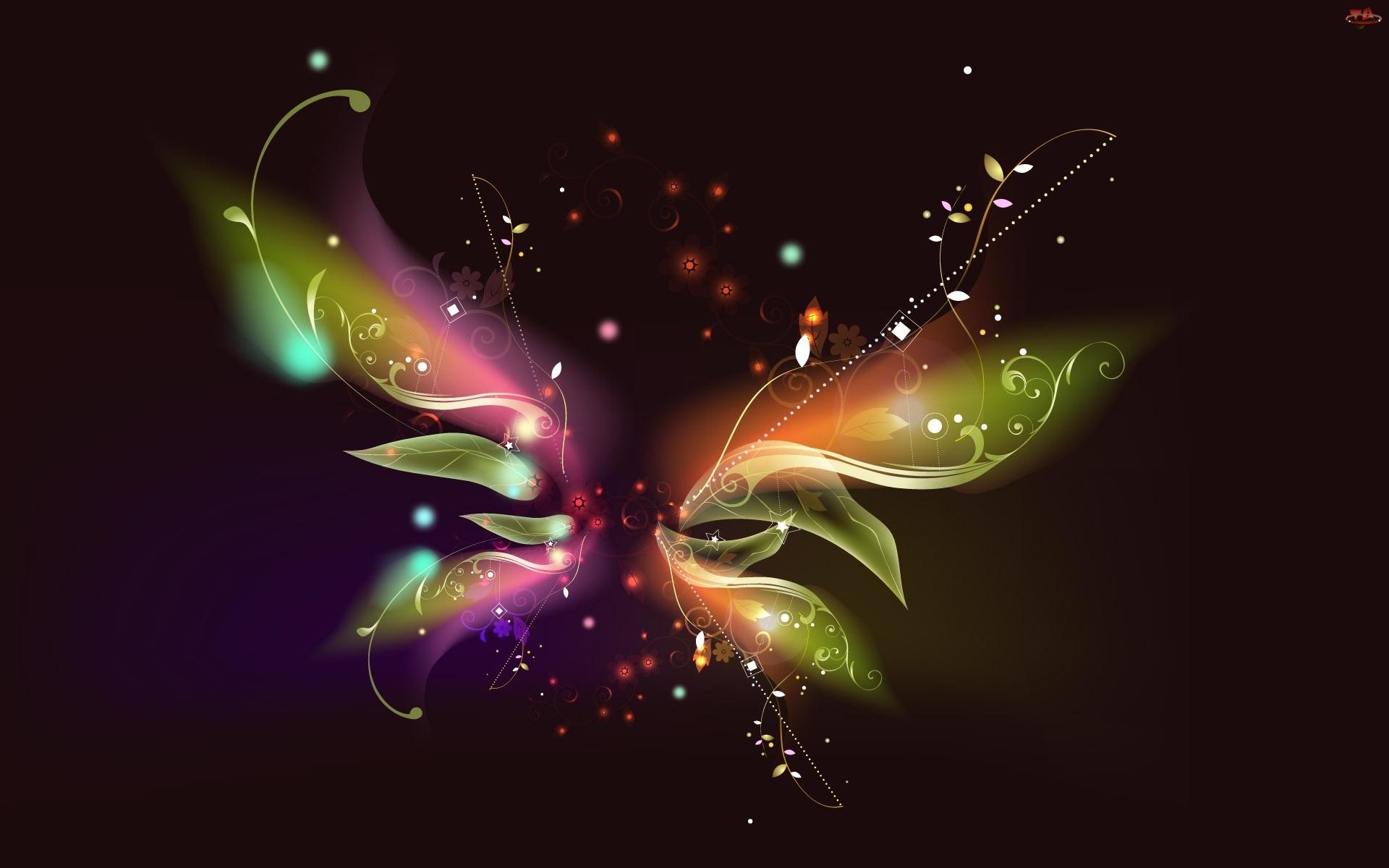 Światła, Motyl, Kolory, Abstrakcja, Smuga
