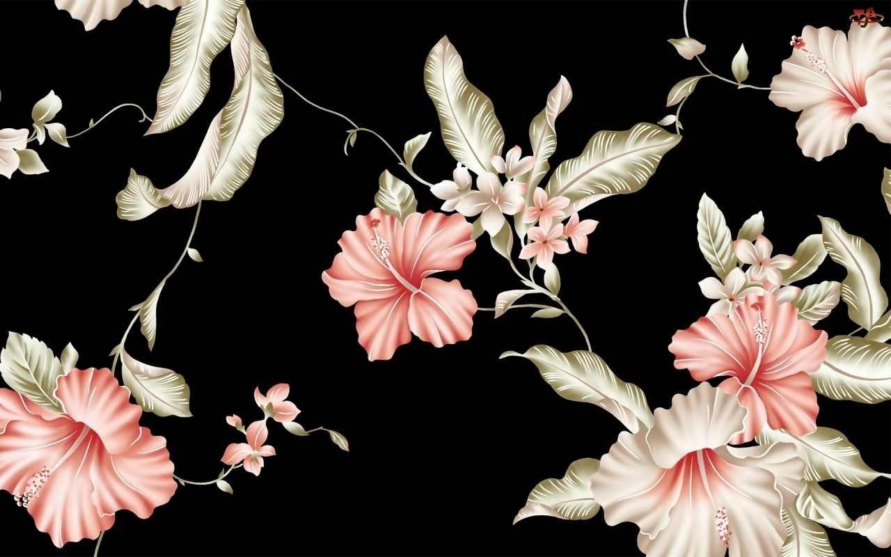 Kwiatki, Tekstura, Czarne, Tło