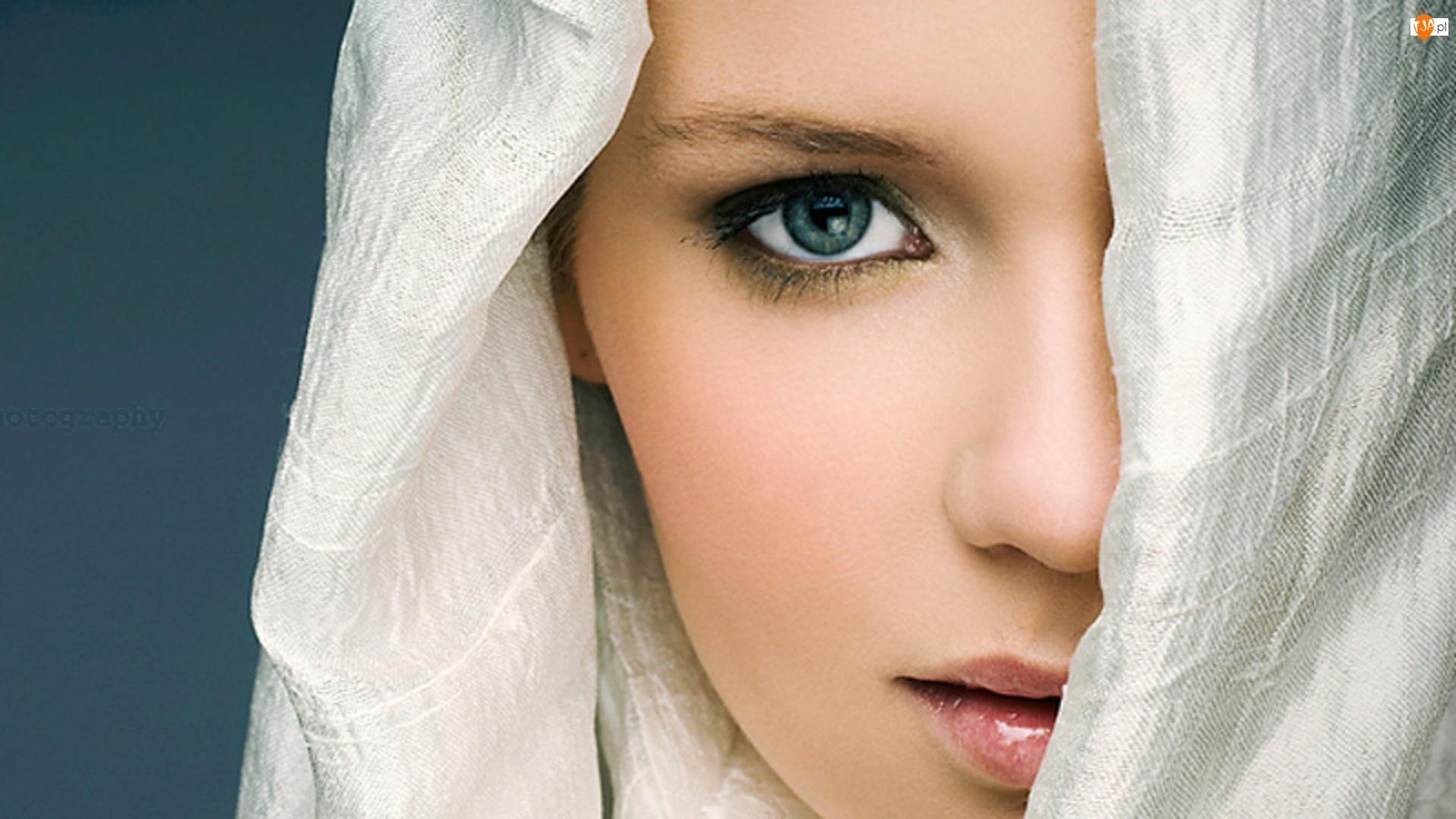 Szal, Kobieta, Biały