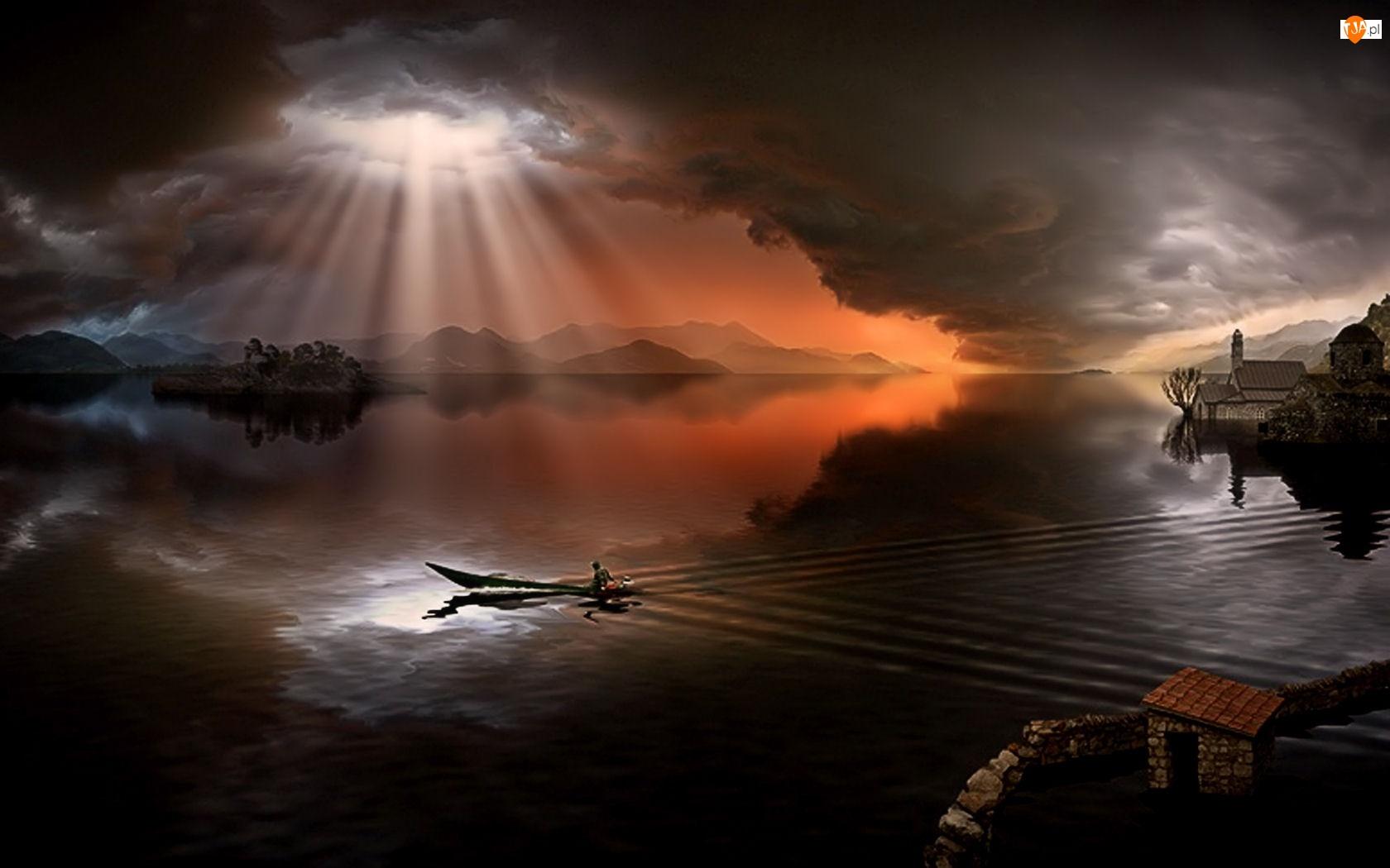 Światło, Jezioro, Przebijające