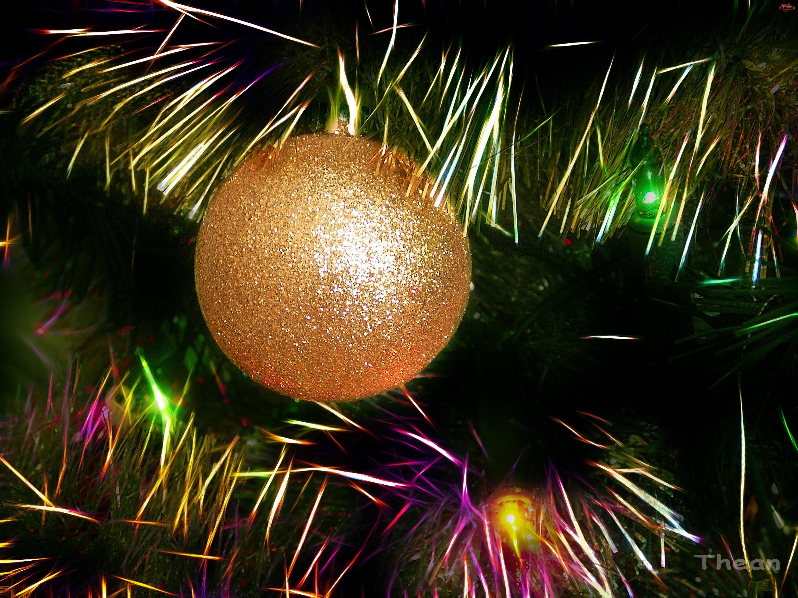 Narodzenie, Światełka, Boże, Bombka, Choinka