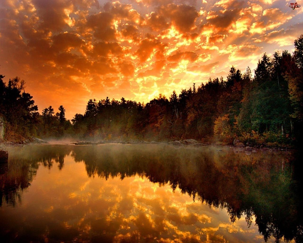 Odbicie, Zachód, Jezioro, Słońca, Las