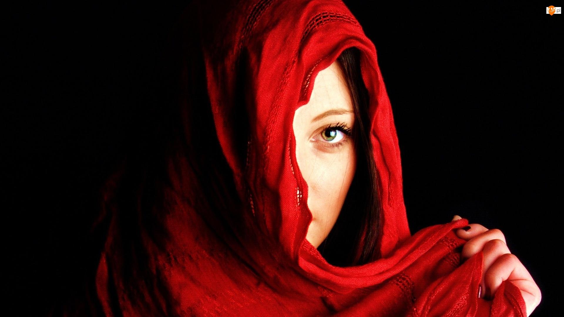 Kobieta, Szal, Dłoń, Czerwony