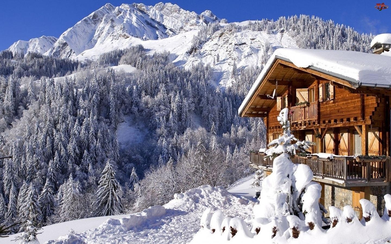 Zima, Dom, Góry, Drewniany