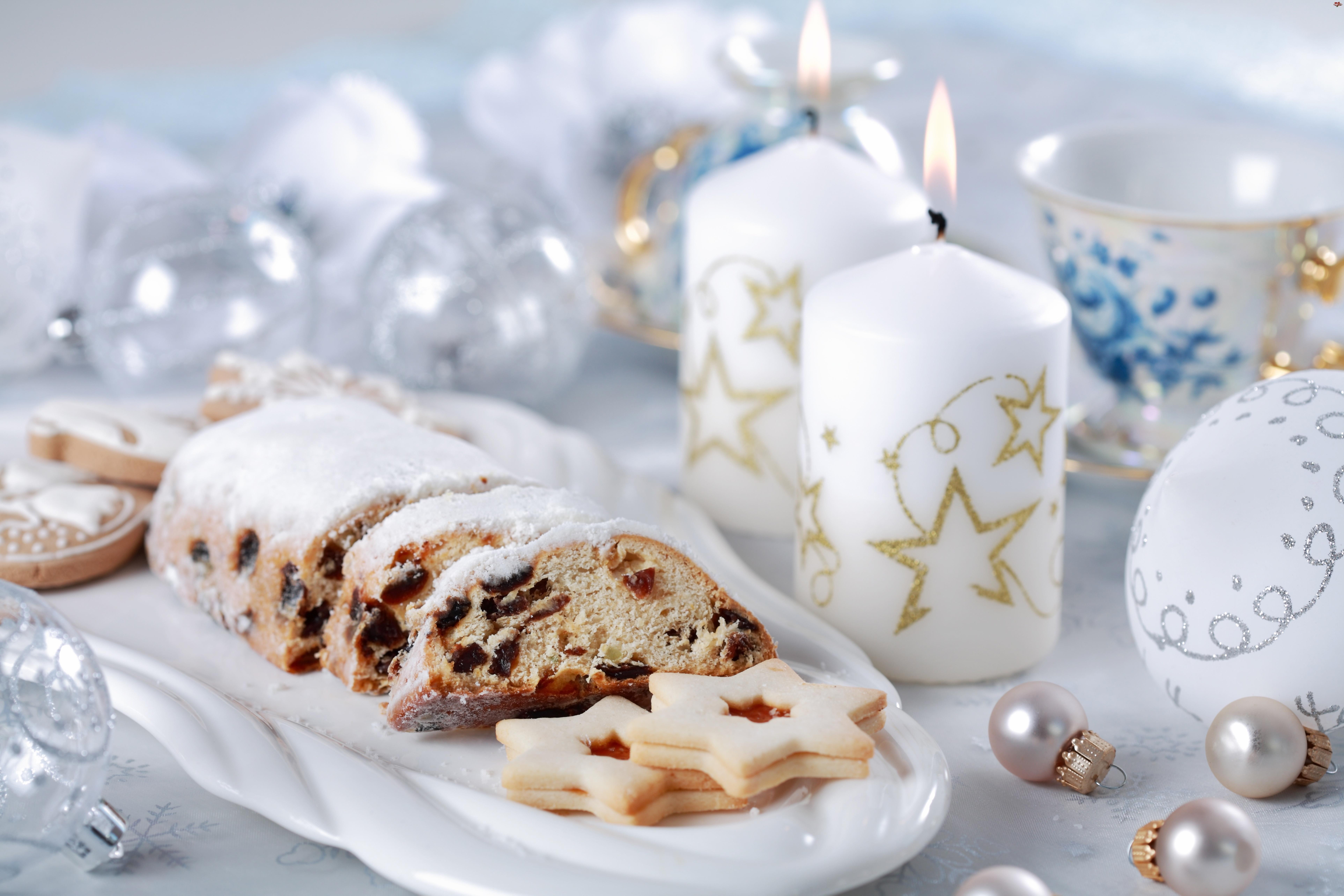 Ciasto, Boże Narodzenie, Białe, Świece