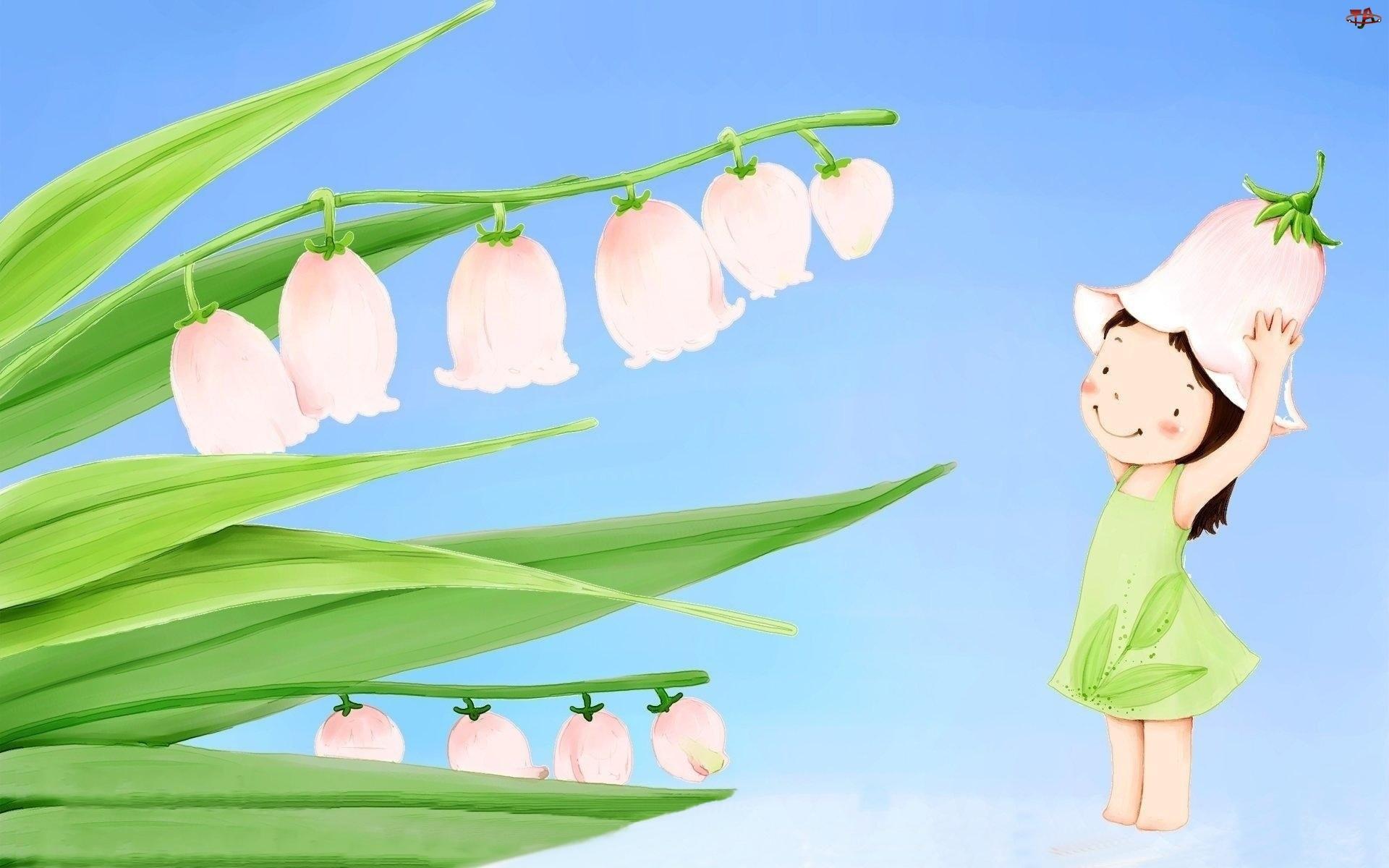 Dzwonki, Dziecko, Kwiaty