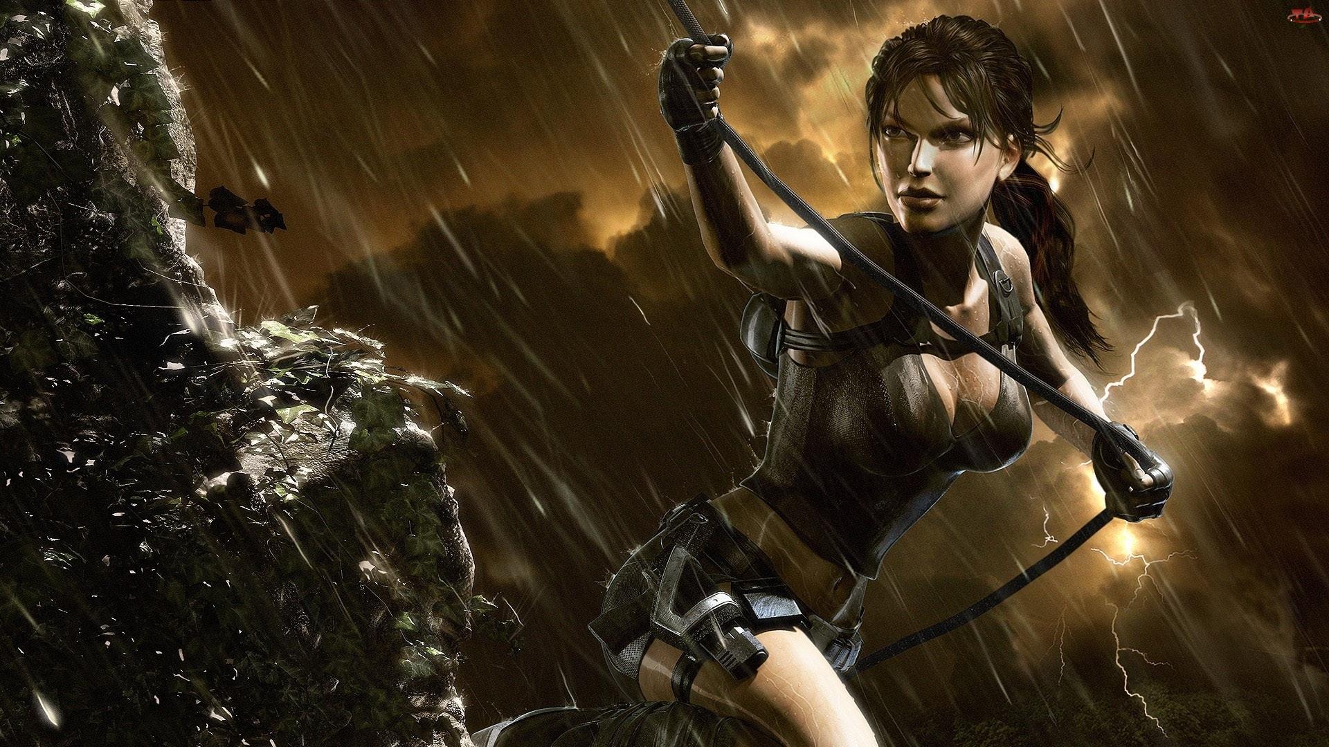 Skały, Lara Croft, Tomb Raider, Deszcz