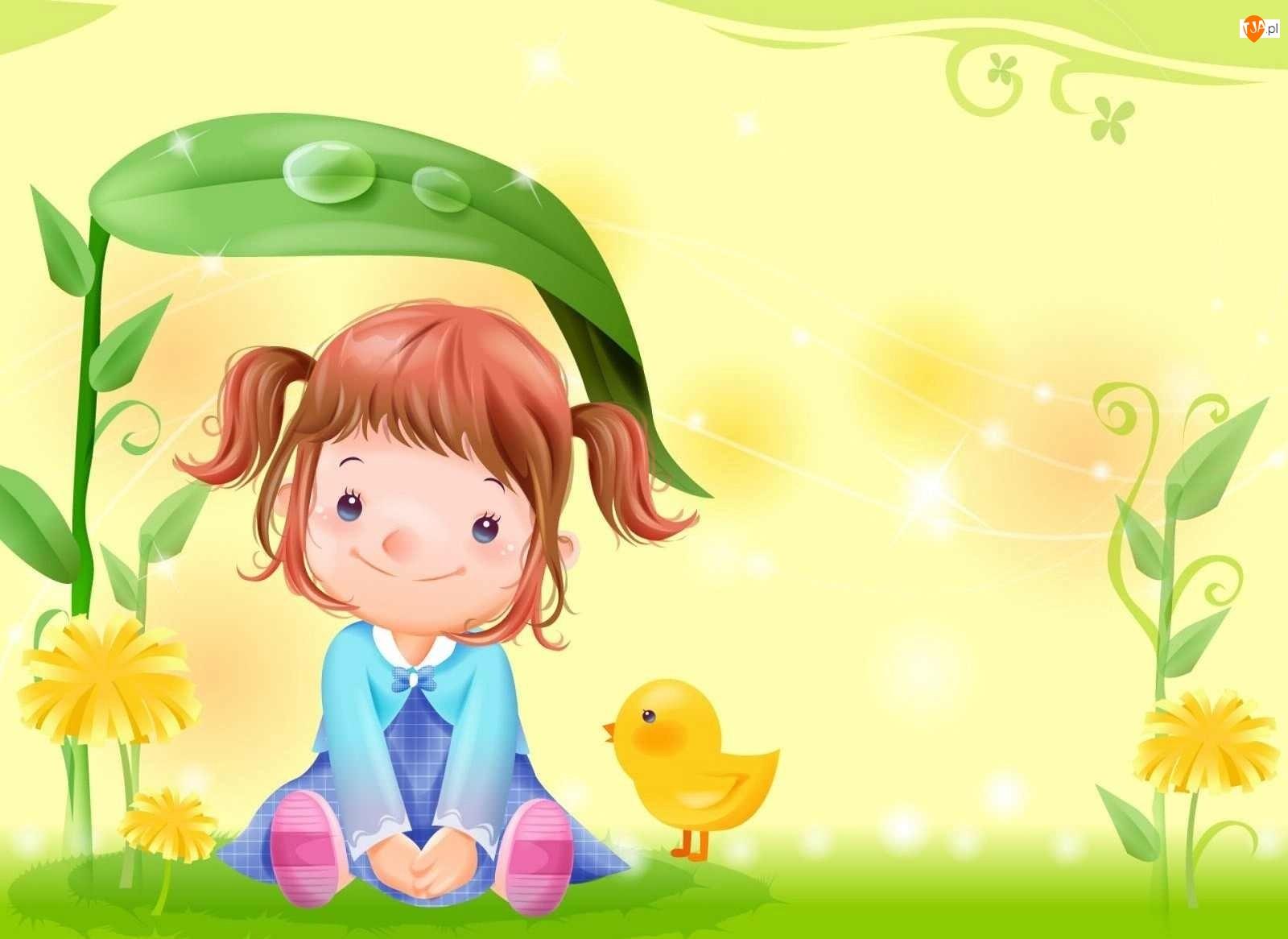 Kurczak, Dziewczynka, Kwiaty