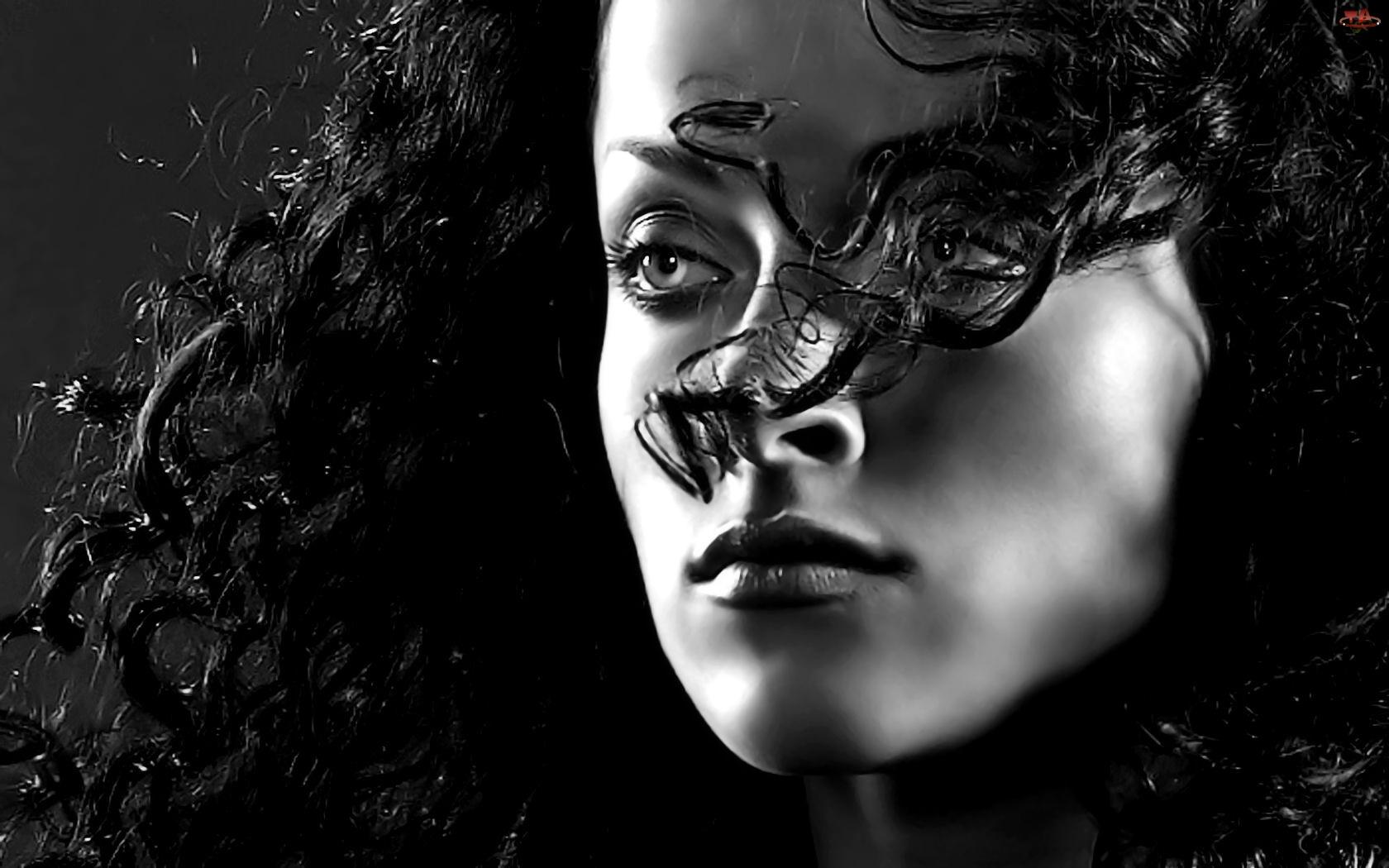 Kobiecy, Czarno-Białe, Portret, Brunetka