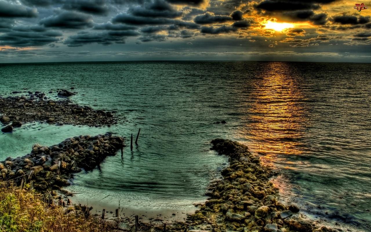 Morze, Zatoka, Zachód, Słońca