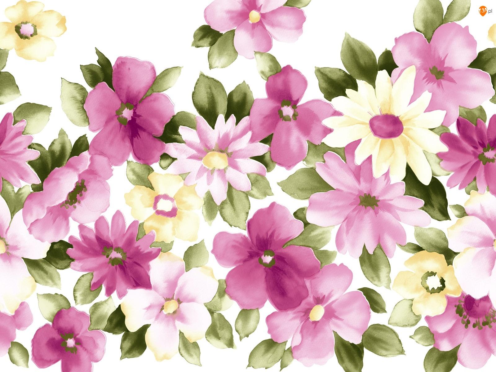 Malowane, Kwiatki, Różowe, Fioletowe, Żółte