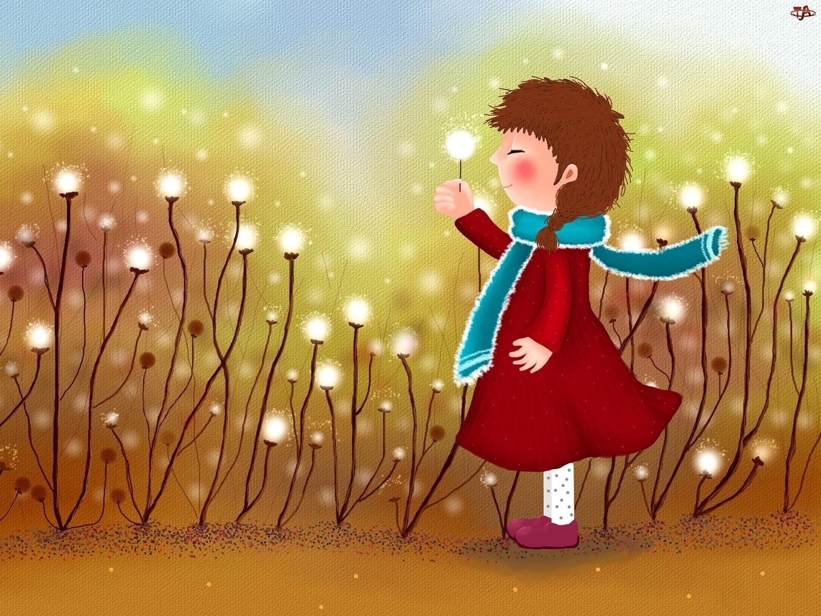 Kwiaty, Dziecko, Łąka