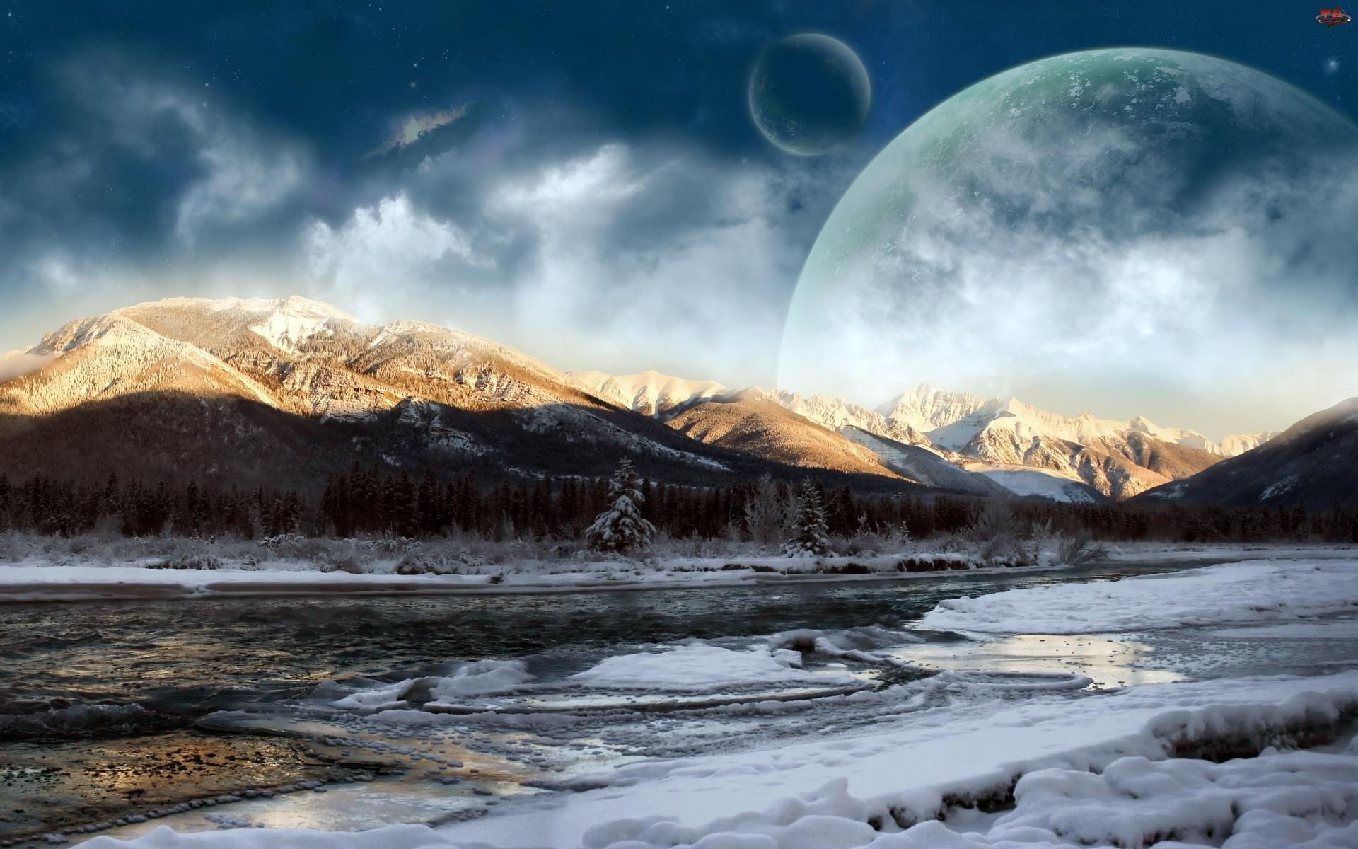 Rzeka, Księżyc, Góry