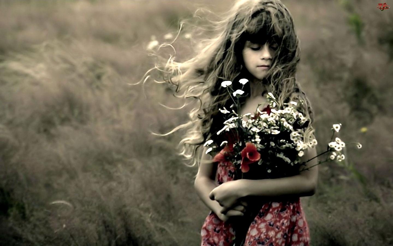 Kwiaty, Dziewczynka, Bukiet