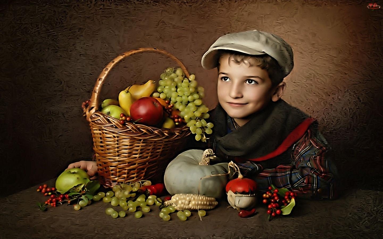 Owoce, Chłopiec, Koszyk