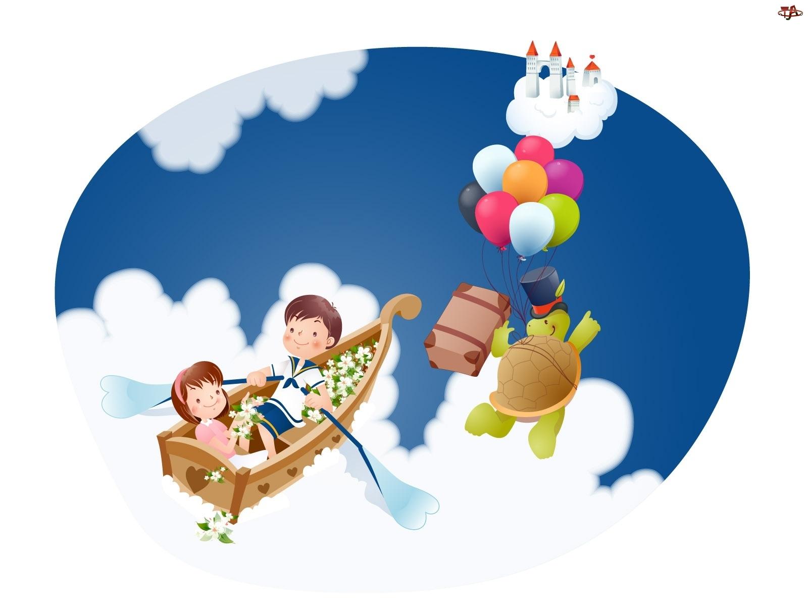 Chmury, Dzieci, Łódka